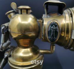 Antique Carbide Bicycle Lamp Miller, Rare Lighthouse Jewel Lamp, British Made
