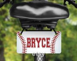 Baseball, étiquette de vélo en aluminium de conception de sports, plaque d immatriculation de vélo imprimée avec le nom, grande pour des enfants