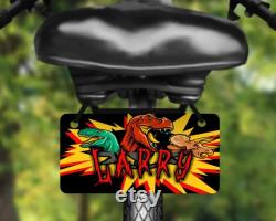 Dinosaures, étiquette de vélo de conception de T-rex, plaque d'immatriculation de vélo imprimée avec le nom, grand pour des enfants