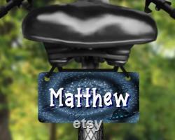 Espace, UFO conception étiquette de vélo en aluminium, plaque d immatriculation de vélo imprimée avec le nom, grand pour des enfants