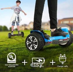 Hoverboard tout terrain hors route de 8,5 pouces avec haut-parleurs Bluetooth et lampes LED, scooter autoéquilibrage certifié UL2272