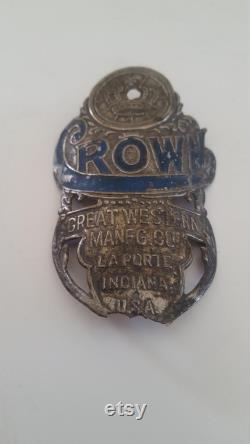 Insigne de tête de bicyclette antique Couronne par Great Western fabrication de la porte, Indiana USA, comme trouvé