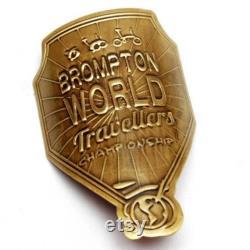 Insigne de tube de direction métallique pour Brompton. Championnat du monde Travelers Air Coloré Aluminium