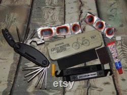 Kit de réparation de bicyclette dans une boîte en aluminium vintage - 15in1 Multitool uk made