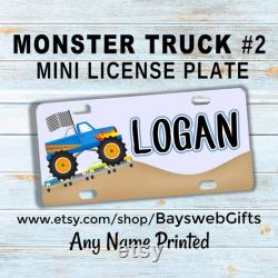 M0NSTER TRUCK 2 Mini plaque d immatriculation Custom Bike Tag Wagons Tricycles Scooters VTT 4 roues Motos Accessoires de vélo