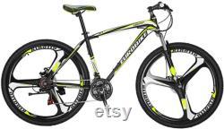 OBK X1 27.5 Wheels Mountain Bike Daul Disc Brakes 21 Speed Mens Bicycle Front Suspension VTT (Yellow Mag Wheels)