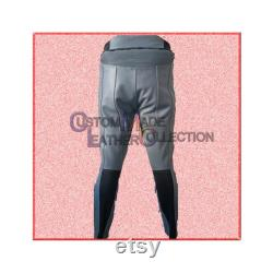 Pantalon gris de cuir de moto de Deadpool pantalon gris de Deadpool