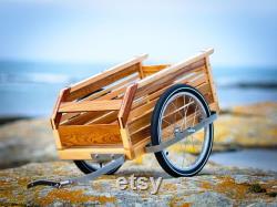 Remorque vélo bois. Timon et visserie inox. Roues alu 18 pouces.