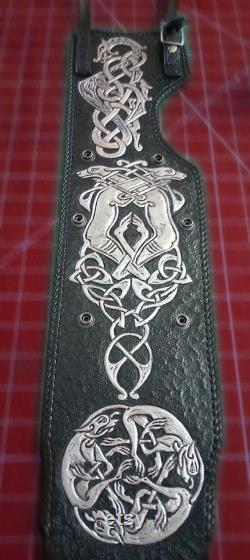 Triumph Motorcycle Tank Strap Tooled Cuir Celtic Design