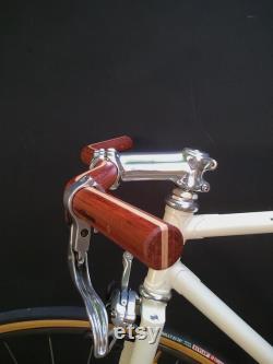 bubinga et col de la moustache en bois de cendres guidon de vélo en bois