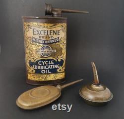 collection vintage d huile de vélo, Antique EXCELENE Lubricating Oil Can Tin, Tin Oil Cans, Industriel, Garage