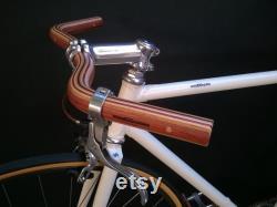 guidon de bicyclette de moustache en bois laminé bubinga, bois de chêne et de cendre